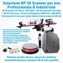 Scanner 3D HP S3 Stereo con accessori e Workstation HP Z2 Mini Performance, XEON 3,5Ghz, Nvidia Quadro 2Gb, SSD256Gb, HD 1Tb